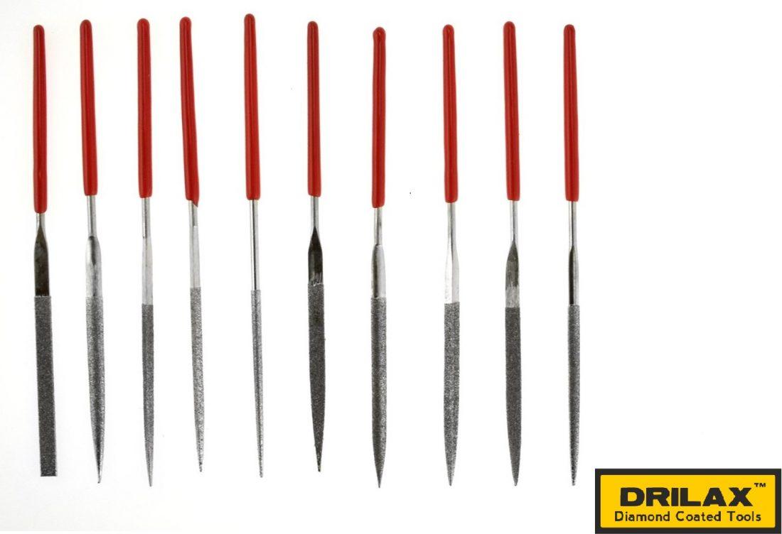 Drilax Diamond Coated Needle File Set 10 Pieces 5-1/2 ...