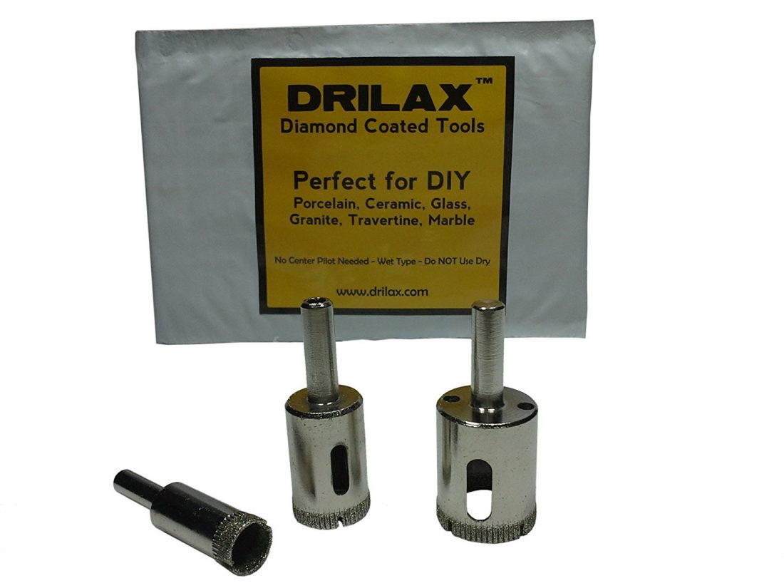 Drilax 3 Pcs Set Diamond Hole Saw Drill Bit Set Granite Glass Tile