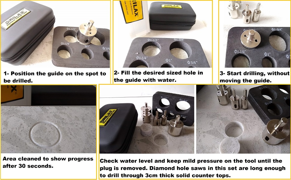 Drilax Diamond Hole Saw Set Guide